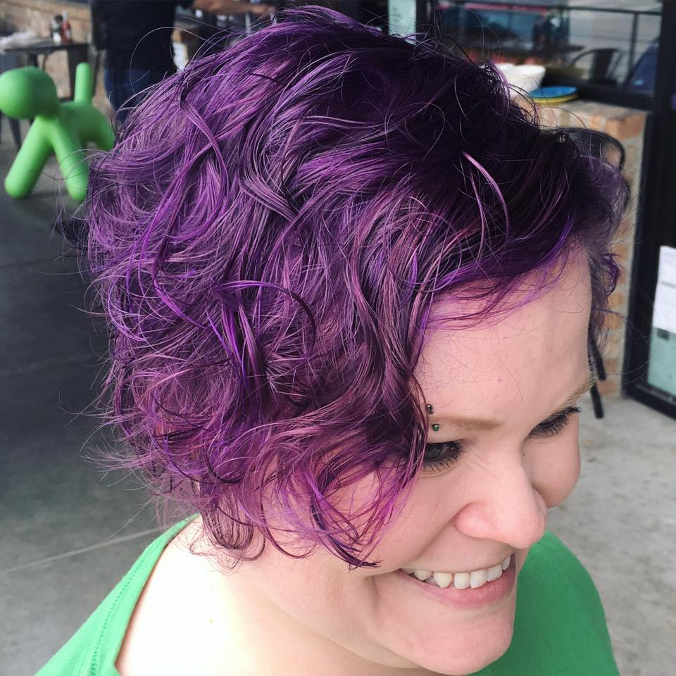 Purple Curls at Bombshell Hair Shop