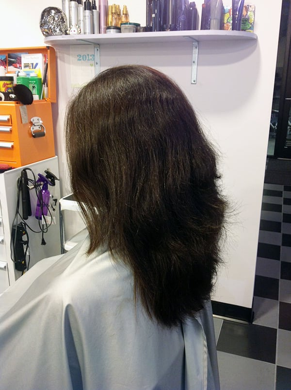 Client A Before at Bombshell Hair Shop