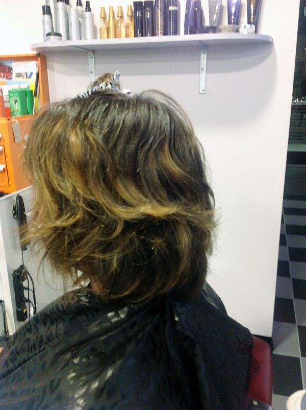 Sharon Before at Bombshell Hair Shop